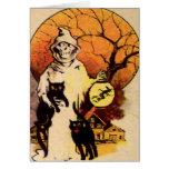 Gato negro del segador (tarjeta de Halloween del