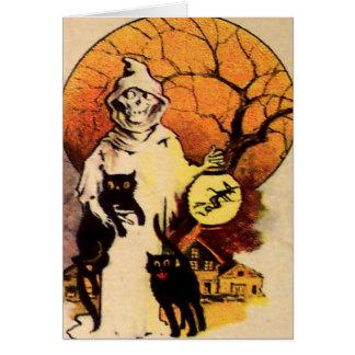 Gato negro del segador tarjeta de Halloween del