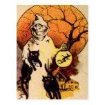 Gato negro del segador (tarjeta de Halloween del Tarjeta Postal