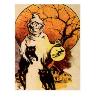 Gato negro del segador tarjeta de Halloween del Tarjeta Postal