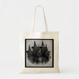 Gato negro del vintage/brujas bolsa tela barata