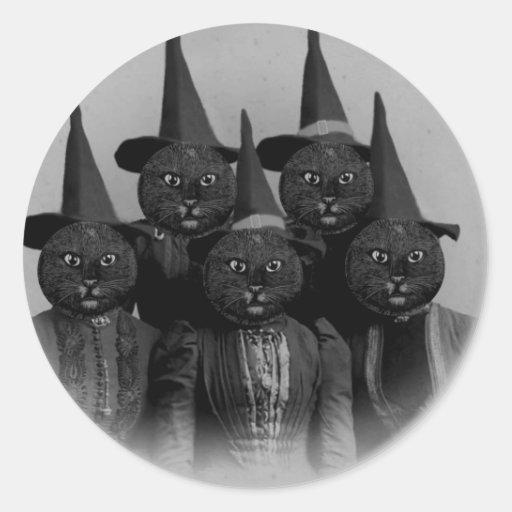 Gato negro del vintage/brujas etiqueta