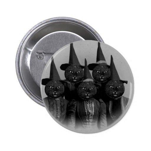 Gato negro del vintage/brujas pins
