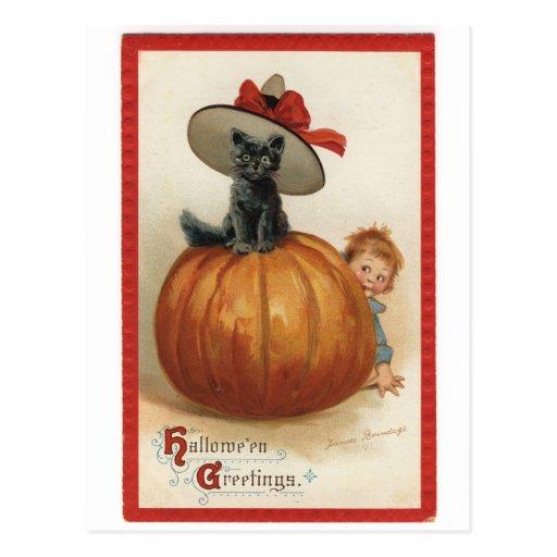 Gato negro del vintage con el gorra de la bruja tarjetas postales