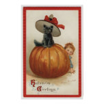 Gato negro del vintage con un gorra de la bruja posters