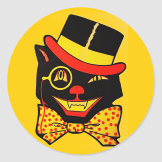 Gato negro del vintage etiqueta