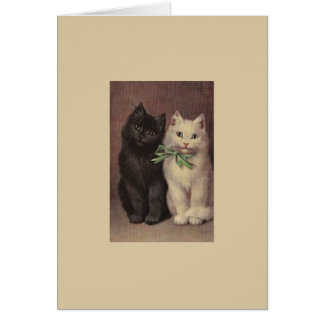 Gato negro del vintage y tarjeta de nota blanca de