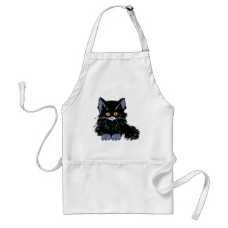 Gato negro delantal