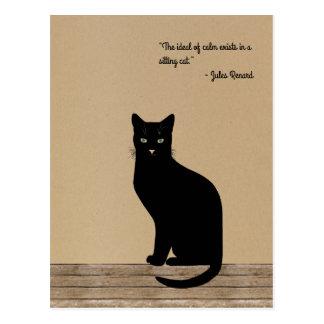 Gato negro diseñado elegante - cita de Renard Postal