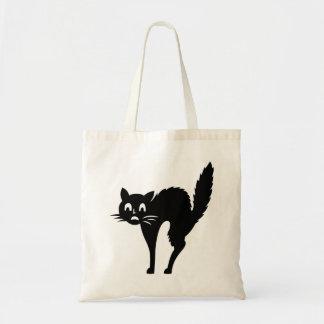 gato negro divertido de Halloween con arqueado det Bolsa Tela Barata