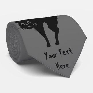 gato negro divertido de Halloween con detrás Corbata Personalizada