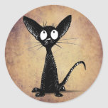 Gato negro divertido etiquetas redondas