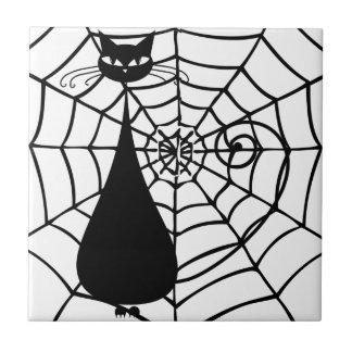 Gato negro divertido peculiar felino azulejo cuadrado pequeño