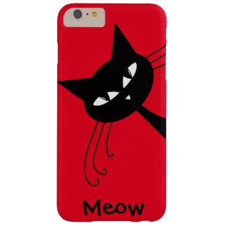 Gato negro divertido peculiar felino funda de iPhone 6 plus barely there