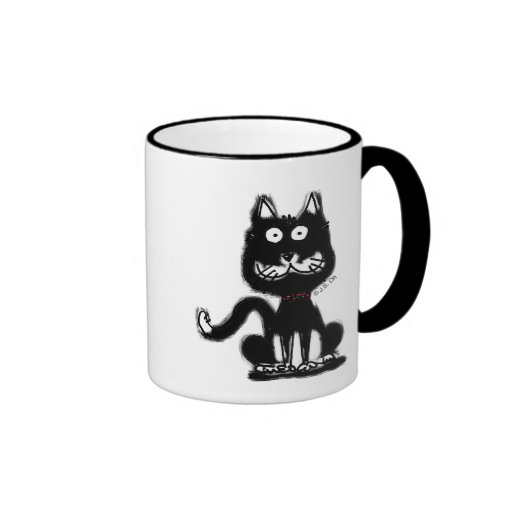 Gato negro divertido tazas de café