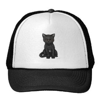 Gato negro dulce del gatito con los ojos de oro br gorros