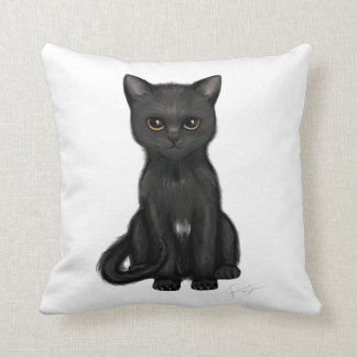 Gato negro dulce del gatito con los ojos de oro cojín