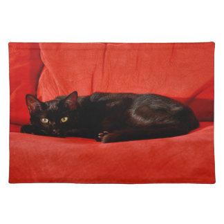 Gato negro Edgar Mantel Individual