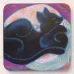 Gato negro. El dormir Posavasos De Bebida