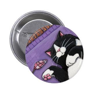 Gato negro el dormir y ratón del juguete - botón d pin redondo de 2 pulgadas