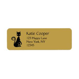 Gato negro elegante etiquetas de remite