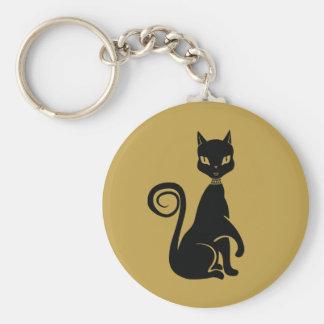 Gato negro elegante llavero redondo tipo pin