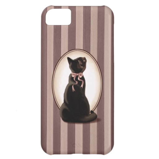 Gato negro elegante y rayas clásicas