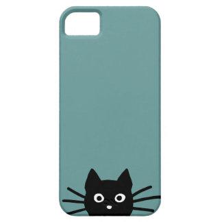 Gato negro en azul (el color es adaptable) iPhone 5 cárcasa