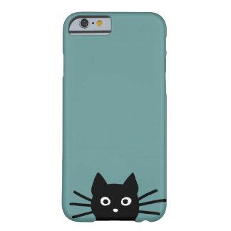 Gato negro en azul (el color es adaptable) funda de iPhone 6 barely there