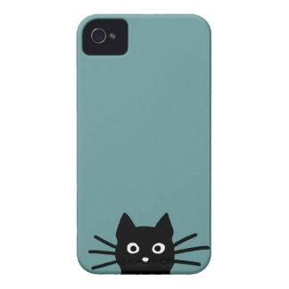 Gato negro en azul (el color es adaptable) iPhone 4 fundas