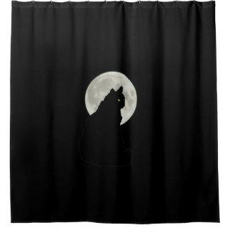 Gato negro en claro de luna cortina de baño