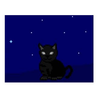 Gato negro en el arte del pixel de la noche postales