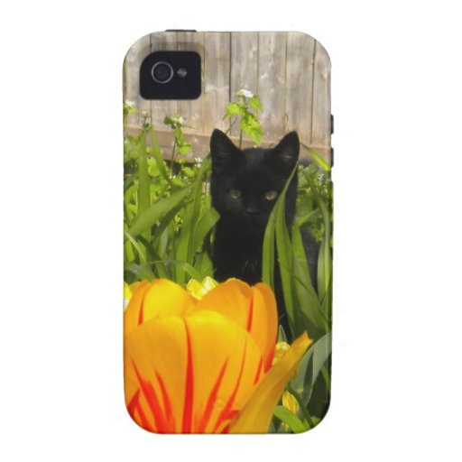 Gato negro en el caso del iPhone 4 de los tulipane Vibe iPhone 4 Carcasa