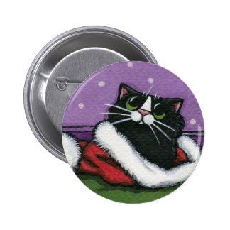 Gato negro en el gorra de Navidad - botón del arte Pin Redondo De 2 Pulgadas