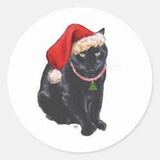 Gato negro en el gorra de Santa Pegatina Redonda