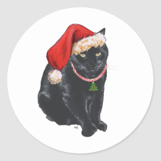 Gato negro en el gorra de Santa Pegatinas