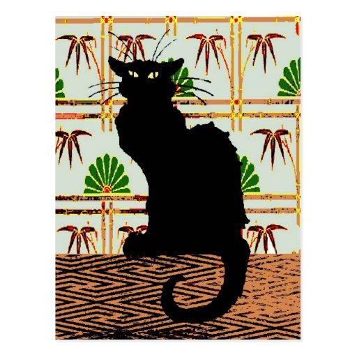 Gato negro en el papel de empapelar japonés postal