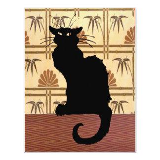 """Gato negro en el papel pintado abstracto invitación 4.25"""" x 5.5"""""""