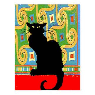 Gato negro en el papel pintado abstracto postales