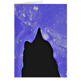 Gato negro en espacio exterior tarjeta de felicitación