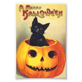 Gato negro en feliz arte del vintage de Halloween Cojinete