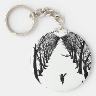 Gato negro en ilustraciones solas del rastro llavero redondo tipo pin