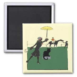 Gato negro en la carrera de caballos imán cuadrado