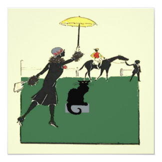 """Gato negro en la carrera de caballos invitación 5.25"""" x 5.25"""""""