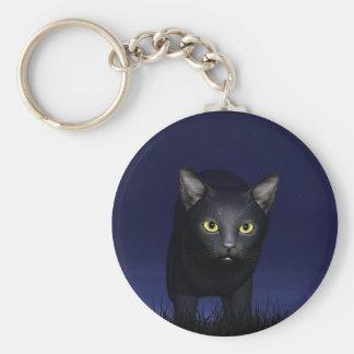 Gato negro en la noche llavero redondo tipo pin