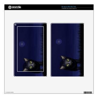 Gato negro en la noche pegatina skin para kindle fire