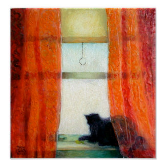 Gato negro en la ventana póster