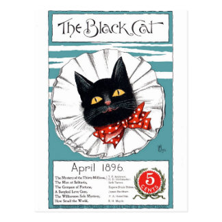 Gato negro en lazo rojo del lunar postal