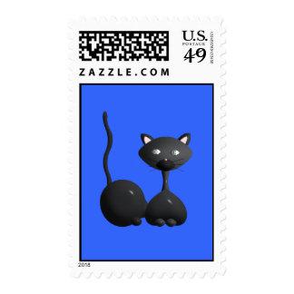 gato negro en sello azul elegante del backgrond