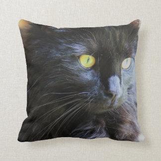 ¡Gato negro en su cara! almohada de tiro Cojín Decorativo